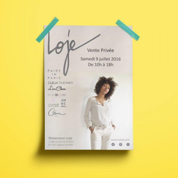 Affiche A3 pour une vente privée Loje par Nasiop